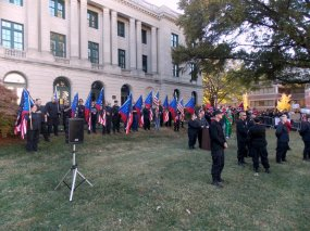 Supporters stood silent as several neo-Nazi and KKK leaders spoke at the rally.