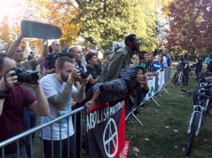 Counter-protesters outnumbered neo-Nazi and KKK members at Old City Hall.