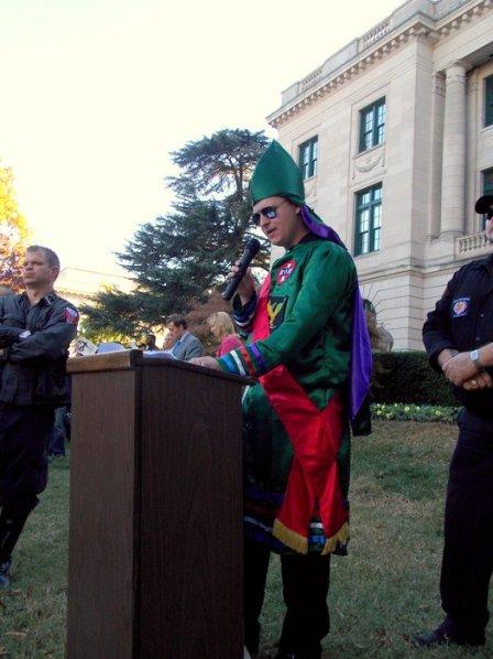 KKK Grand Dragon James Moore of Virginia speaks at the rally.