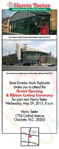 Photo of the old store and a rendering of the new on an invite to the grand opening. Click to enlarge.