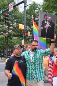 Couple Brian Helms and Jeff Enochs celebrated the Supreme Court's ruling. Photo Credit: rcraigsnider@gmail.com.