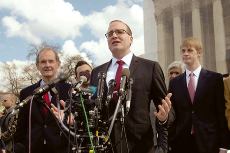 Human Rights Campaign Executive Director Chad Griffin addresses a crowd outside the Supreme Court.