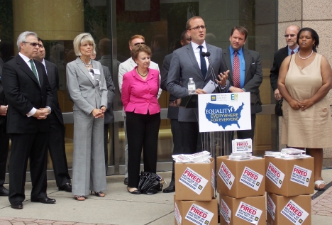 Human Rights Campaign President Chad Griffin speaks on LGBT employee protections at a press event on Tuesday, July 9, 2013, with local and regional elected officials, business leaders and activists.