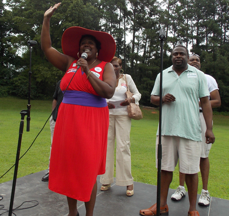 Charlotte City Councilwoman LaWana Mayfield (left) and state House Rep.Marcus Brandon addressed the attendees at Charlotte Black Gay Pride. File Photo