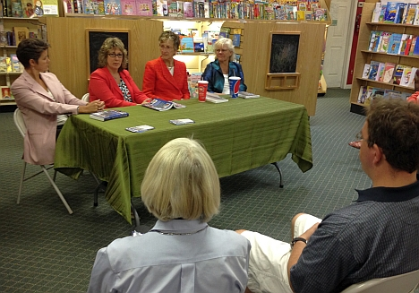 Out leaders in the corporate workplace told their stories at Park Road Books on Sunday (L-R): Renee Brown, Wells Fargo; Julie Hogan, NCR Corporation; Cynthia Martin, Eastman Kodak; Selisse Berry, Out & Equal Workplace Advocates.