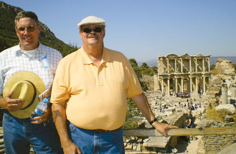 Steve Warren and Mike Grasso (l-r) have antique collections spanning their two homes in California and Salisbury.