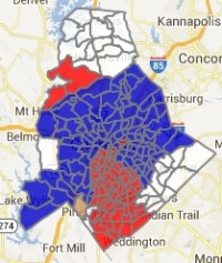 Precincts (blue, Democrat Patrick Cannon; red, Republican Edwin Peacock) show a divided city in Charlotte's mayoral election.