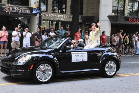 Then-Mayor Patsy Kinsey rides in the Bank of America Charlotte Pride Parade on Aug. 25 in Uptown Charlotte. Photo Credit: Bobby Cochran.