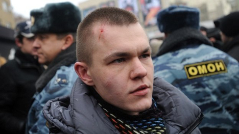 Voronezh gay rights activist Pavel Lebedev was assaulted during a protest he organized  in January. His attacker was found guilty of assualt, but sentencing has been constantly postponed. Photo Credit: Article20.org.  Republished with permission