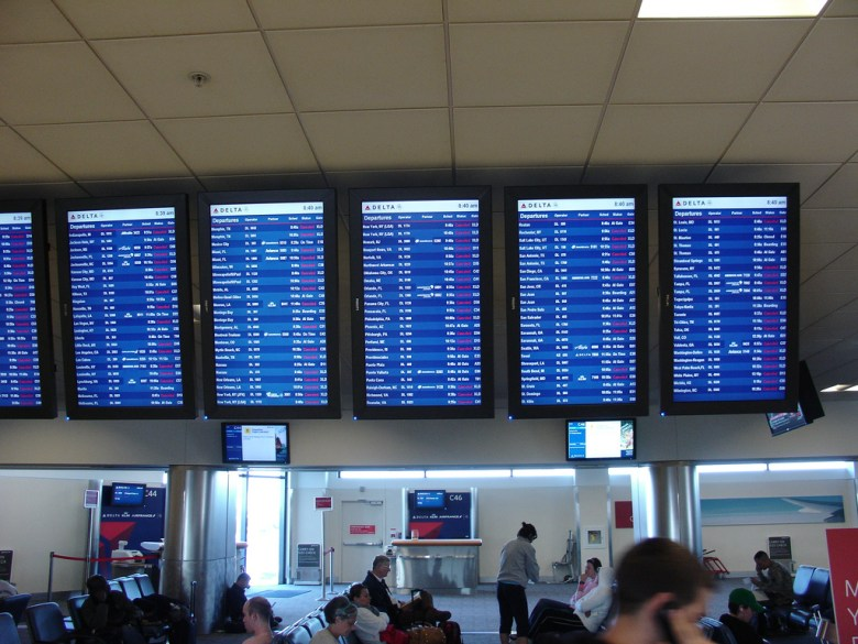 A Delta screen at Atlanta's Hartsfield-Jackson International Airport in February 2010, when similar weather caused wide delays and cancellations. Photo Credit: . Licensed CC.