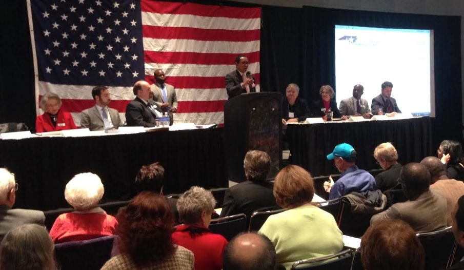 State Sen. Floyd McKissick addresses the N.C. Democratic Party State Executive Committee.