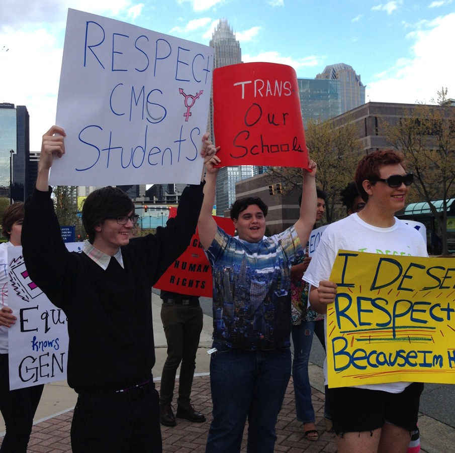 Transgender students in Charlotte-Mecklenburg Schools held a rally at the Charlotte-Mecklenburg Government Center before speaking on inclusive policy requests at the school board's Tuesday evening meeting.