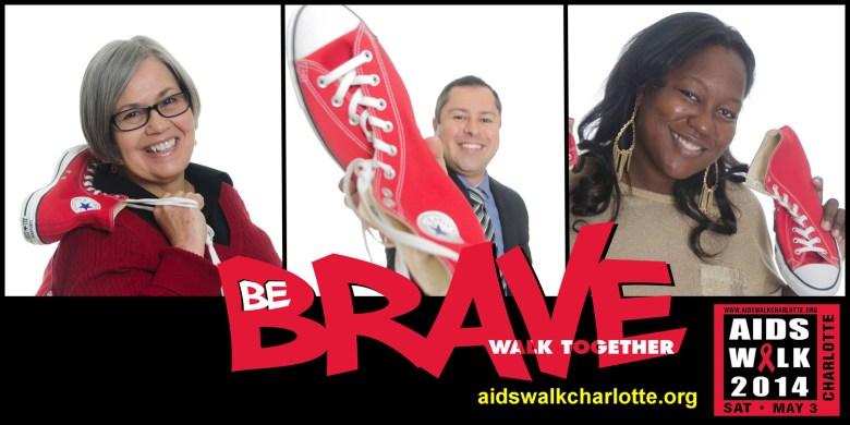 One of RAIN's AIDS Walk Charlotte marketing posters, picturing (L-R): RAIN Executive Director Rev. Debbie Warren, Michael Rodriguez and Kita Chandler.