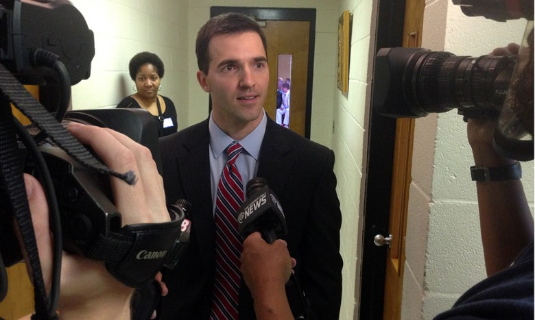 Jeff Jackson speaks to media after being selected to replace former state Sen. Dan Clodfelter.