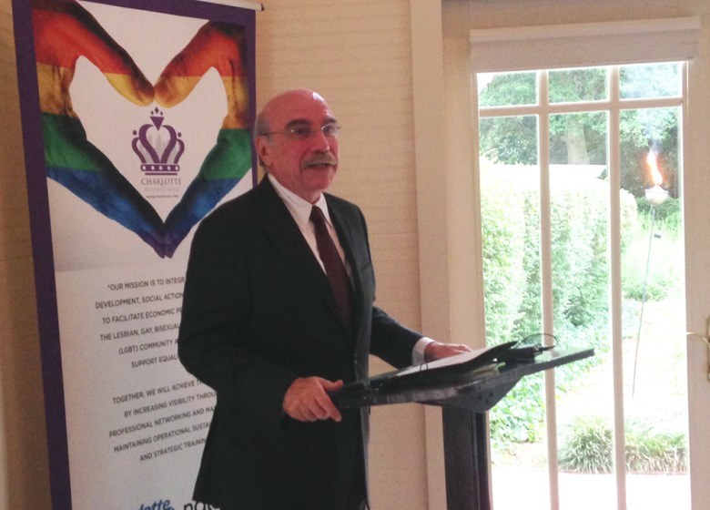 Charlotte Mayor Dan Clodfelter spoke briefly at the Charlotte Business Guild 22nd anniversary dinner, presenting and reading from his proclamation marking the group's accomplishment.