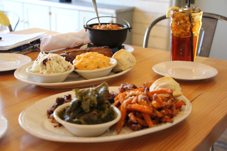 A prepared meal from Durham's The Pit Authentic Barbeque. Photo Credit: Durham Convention & Visitors Bureau.