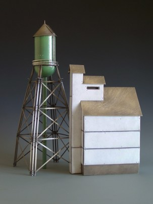 "'Green Water Tower and White Elevator' Sterling silver, copper, kiln-fired glass enamel. 16"" tall."