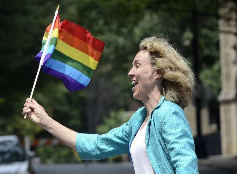 Democratic candidate Jennifer Roberts has been more socially liberal and has been visible in the LGBT community. She is seen here marching at the Charlotte Pride Parade. Photo Credit: Diedre Laird, The Charlotte Observer