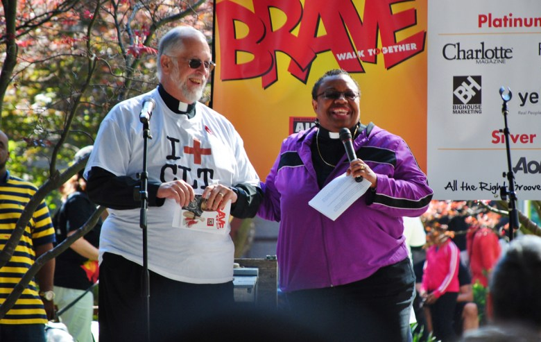 The Reverend L. Murdock Smith (St. Peter s Episcopal Church), left, and Bishop Tonyia Rawls (Sacred Souls Community Church and the Freedom Center for Social Justice) were among many clergy who have participated in years past. Many churches have HIV/AIDS care teams that are affiliated with the Regional AIDS Interfaith Network.