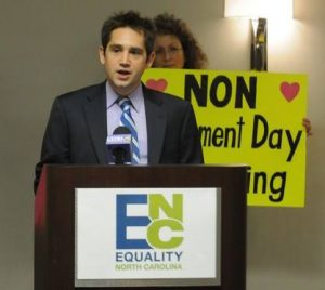 Chris Sgro, executive director of Equality North Carolina, was seated at the only openly gay legislator in the state's General Assembly. Photo Credit: Facebook