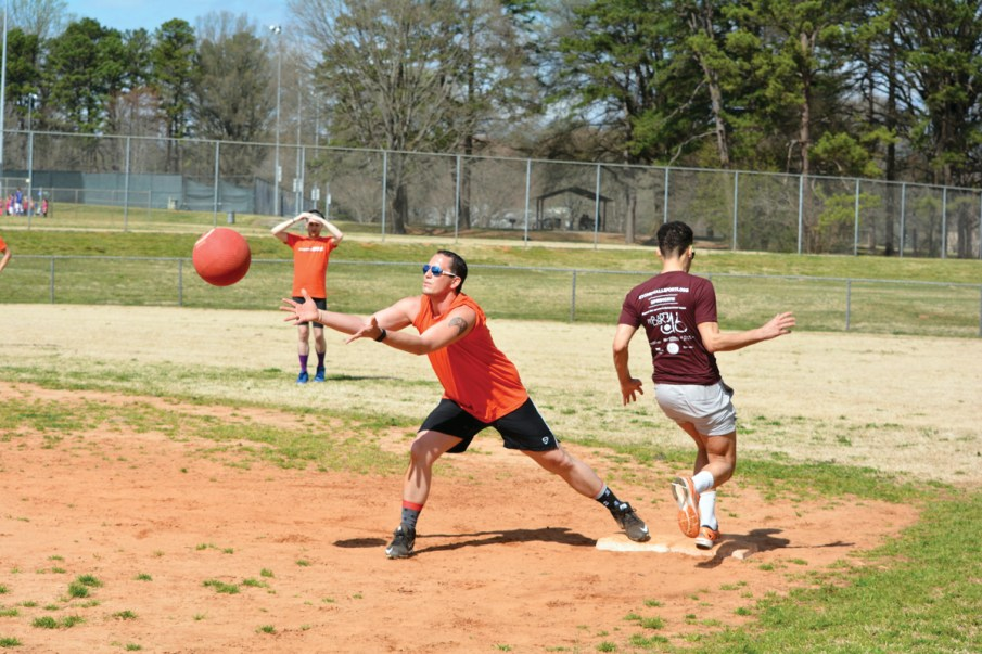 It's not school yard kickball anymore. The Stonewall Sports league offers an adult version of the game, along with other sporting options which provides good exercise and opportunities to make lasting friendships.