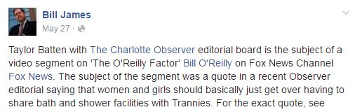 Bill James transgender