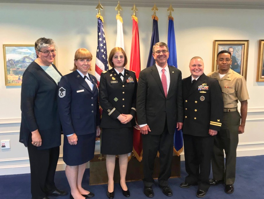 Transgender service members from SPARTA pose with SPARTA's Sue Fulton (far left) and Secretary of Defense Ash Carter (second from right). Photo Credit: TransMilitary.