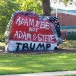 Rock outside Matthews high school painted with anti-gay, pro-Trump message