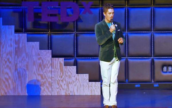 Jonathan Winn giving a TEDx Talk via YouTube screenshot