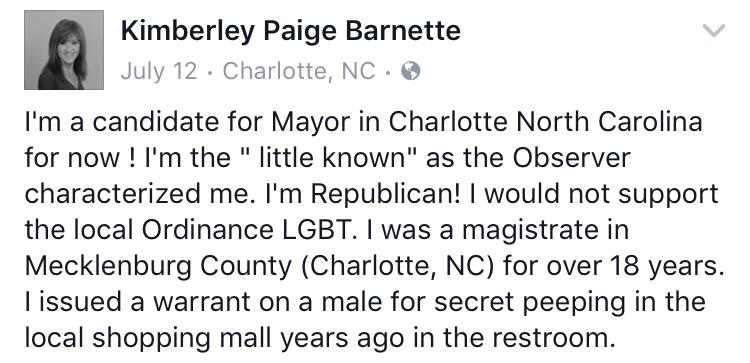 Kimberley Barnette charlotte mayor