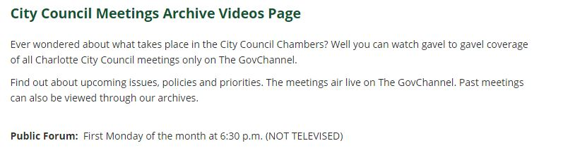Charlotte City Council public forum