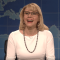 featured image Betsy DeVos, as played by Kate McKinnon, says, 'In North Carolina: Stop being trans!'