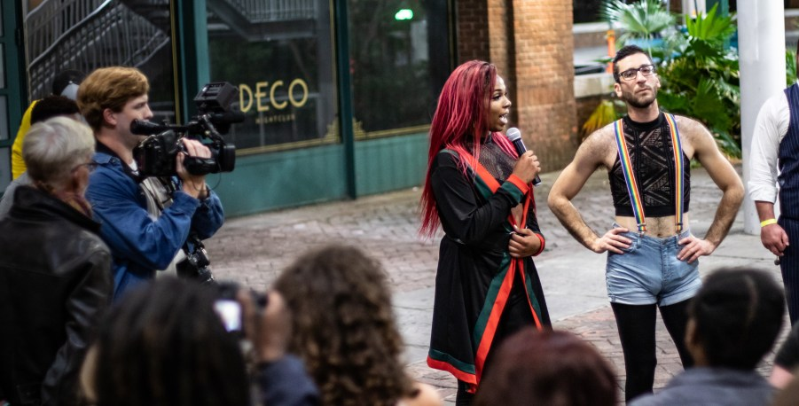 The dance party ended at Deco where participants used their bodies to reclaim the space where transgender Kendra Martinez was assaulted. Photo Credit: Everett Zuraw