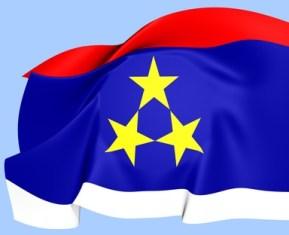 Flag of Vojvodina. Close Up.