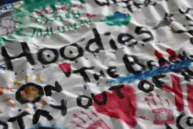 'Save the Hoodie' banners were created as part of Plover Appreciation Day.