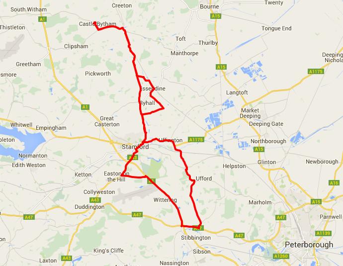 26-05-2015 - bike ride route map