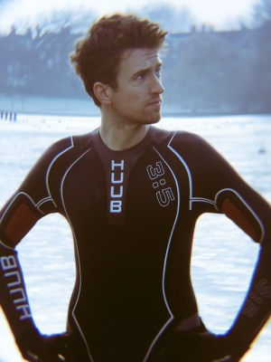 Greg James wetsuit saying look at me!