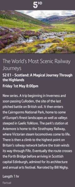 The World's Most Scenic Railway Journeys - 01/05/2020 BT TV app