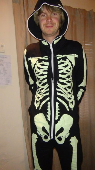 Black Skeleton Glow In The Dark All-In-One