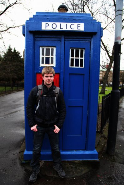 Myself in front of police box in Glasgow