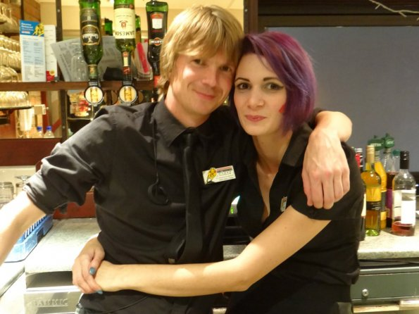 Emilie and myself at work
