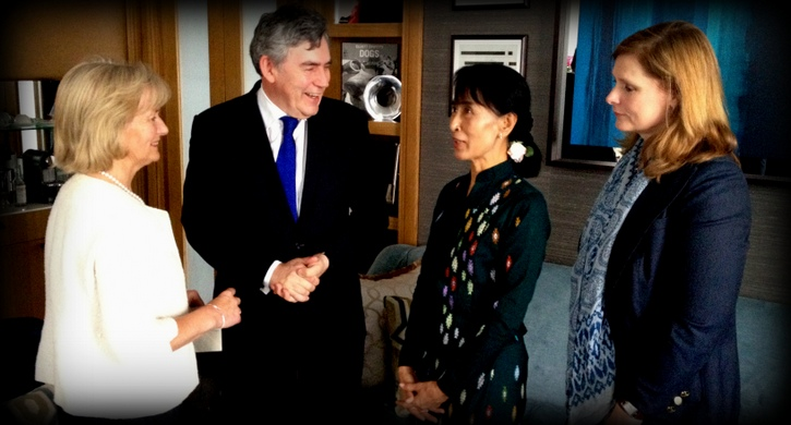 Glenys Kinnock and Gordon and Sarah Brown meet Daw Aung San Suu Kyi © OGSB 2012