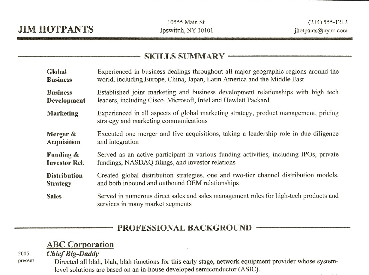 A Summary On A Resume Resume Writing Tip 3 Skills Summary Section Gordon
