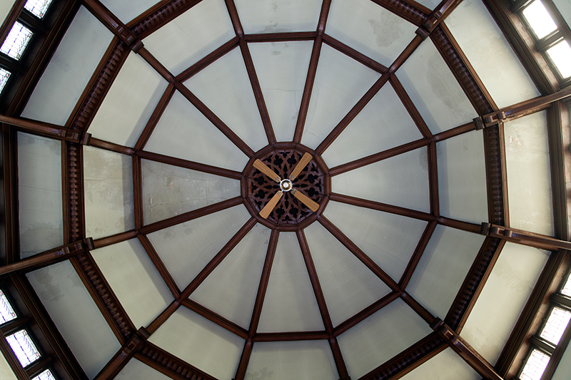 The ceiling with carved wood finished beams of the Sunday School Edition of the Reformed Church in the historic Port Richmond section of Staten Island, N,Y. on Friday Oct. 25, 2013. (Gordon Donovan)