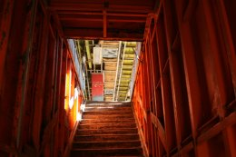 The gutted middle deck, in a lovely shade of New York City orange. (Gordon Donovan)