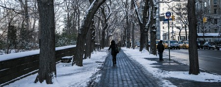 A woman walks up 5th Ave. along Central Park after a winter storm hit the New York City area, Friday Jan. 9, 2015. (Gordon Donovan/Yahoo News)