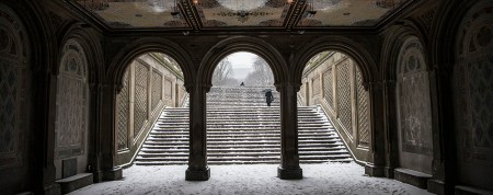 A man heads up the stairs of the Bethesda Fountain in Central Park in New York, Friday Jan. 9, 2015. (Gordon Donovan/Yahoo News)