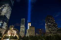 The Tribute in Light rises above the New York skyline and One World Trade Center, right, Friday, Sept. 11, 2015 (Gordon Donovan/Yahoo News)