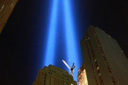 The Tribute in Light is seen from the street beneath the Battery Park Garage on Sept. 11, 2015. (Gordon Donovan/Yahoo News)