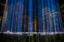 The Tribute in Light rises above the New York City skyline from the National September 11 Memorial & Museum on Sept. 11, 2015, the 14th anniversary of the 2001 terrorist attacks. (Gordon Donovan/Yahoo News)